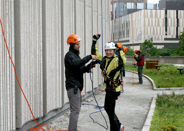 Carol Stubits, seconds after finishing her rappel down Toronto City Hall