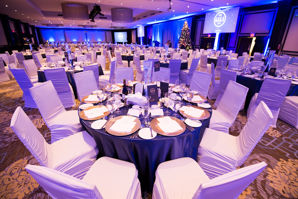 A wide shot of the CWB National Leasing gala ballroom