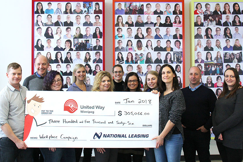 CWB National Leasing's United Way committee presents a cheque to United Way Winnipeg for over $300,000.
