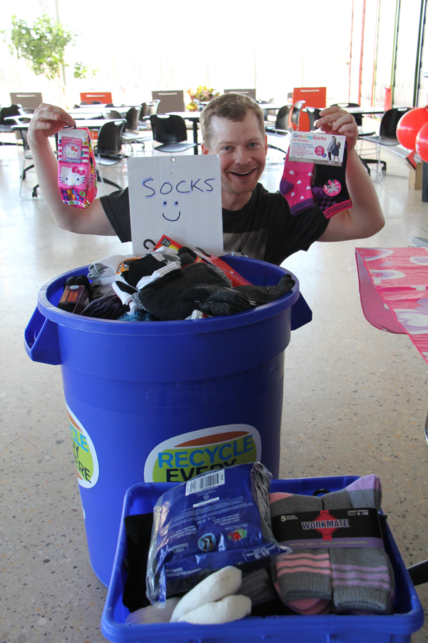 Buckets of donated socks at our Valentine's Day Sock Hop in February 2016