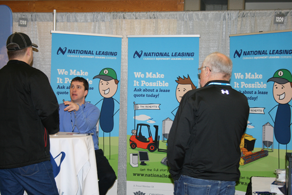 CWB National Leasing booth at an agricultural trade show