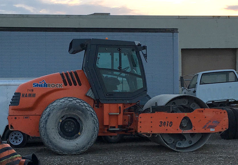 A photo of the Hamm Roller that SheaRock Construction Group leased with CWB National Leasing