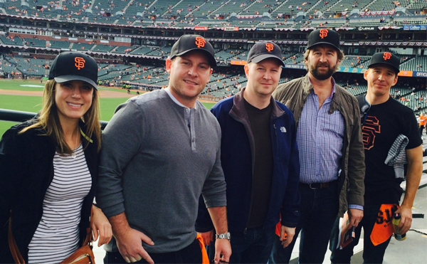 Our team taking in a San Francisco Giants game with Chris Quinn (second from the left) and Dino Forlin (second from the right)