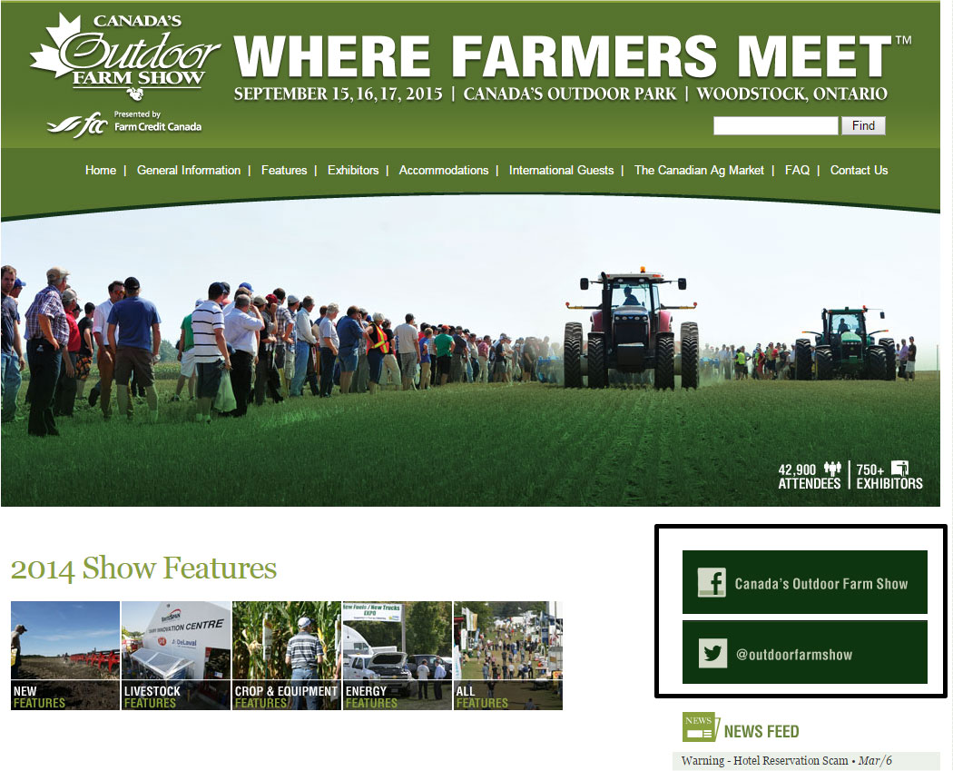 Image of Canada's Outdoor Farm Show website homepage