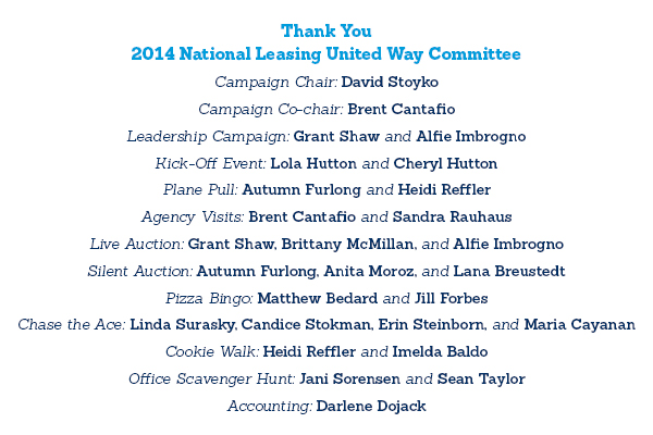 A list of National Leasing's 2014 United Way committee members