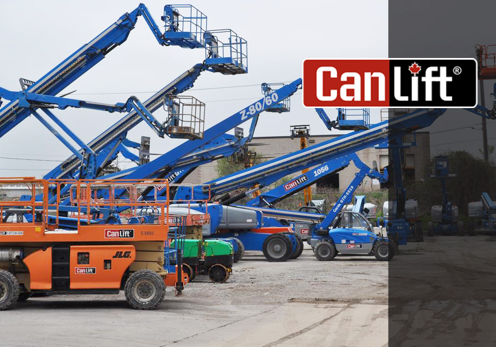 A photo showing some of CanLift's 600-piece lift equipment inventory