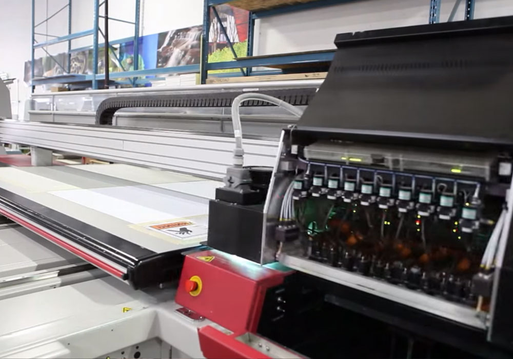 A photo of an industrial printer in action