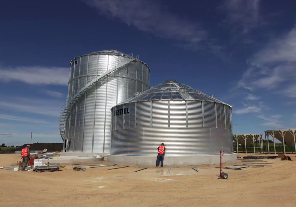 A photo of Wall Grain building two large grain bins