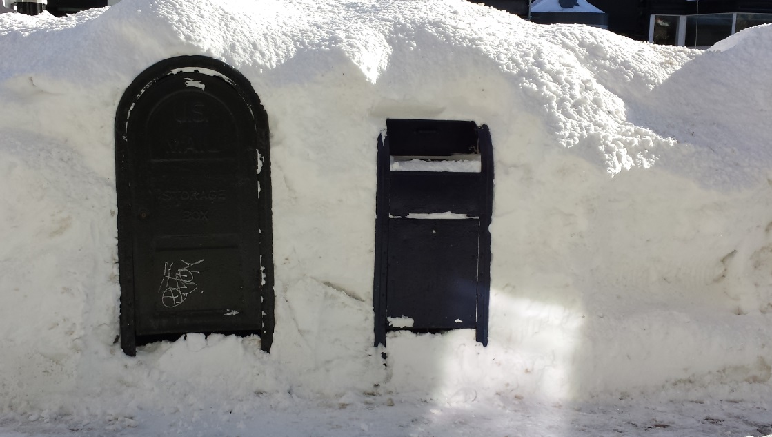 Higher-than-mailboxes snowbank