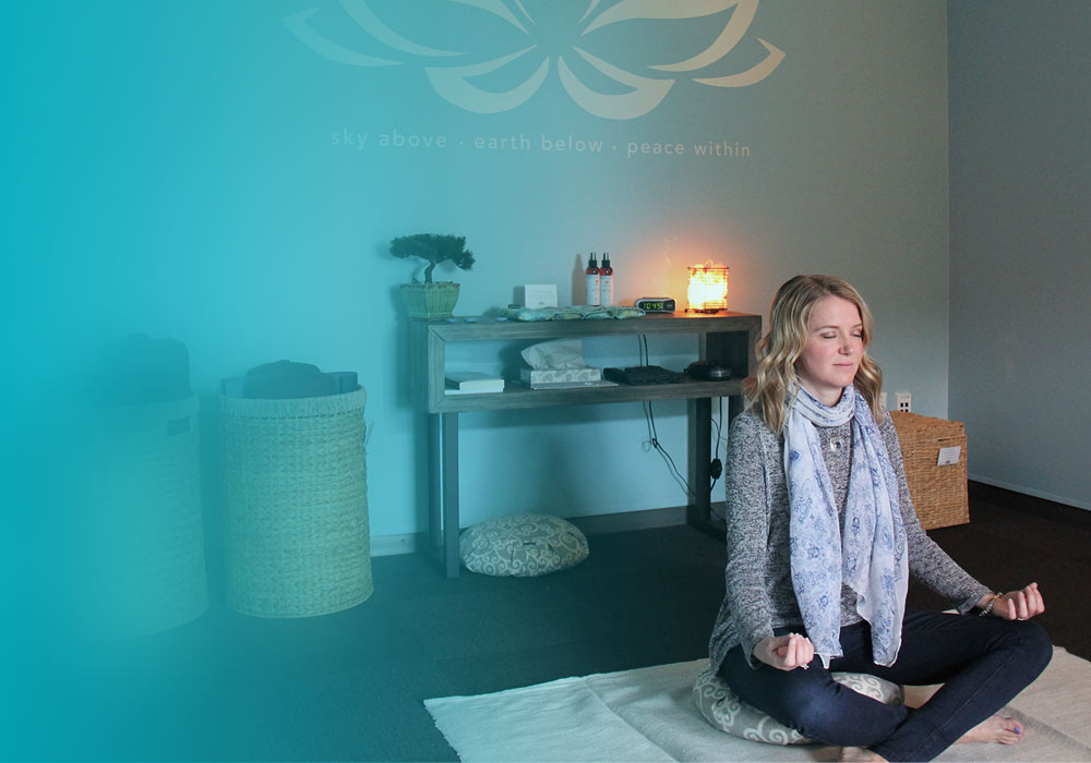 Employee meditating in Zen Zone
