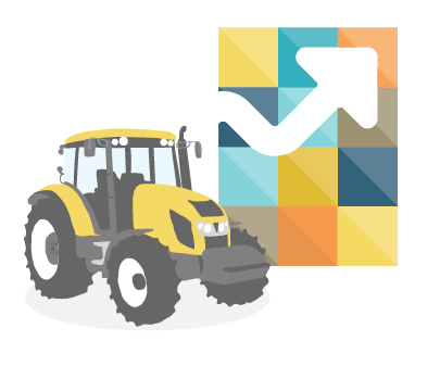 A tractor and growth arrow.