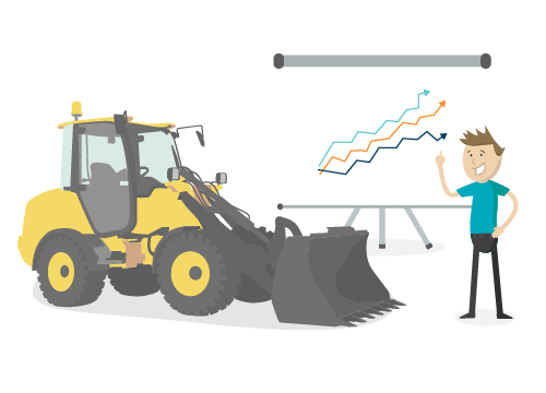 Front end loader and growth chart.